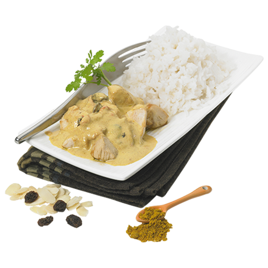 Poulet au curry et son riz Basmati