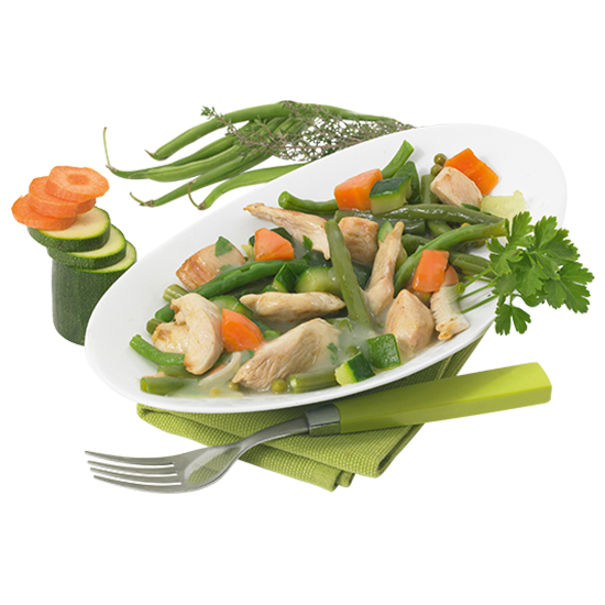 Filet de poulet et ses petits légumes sautés