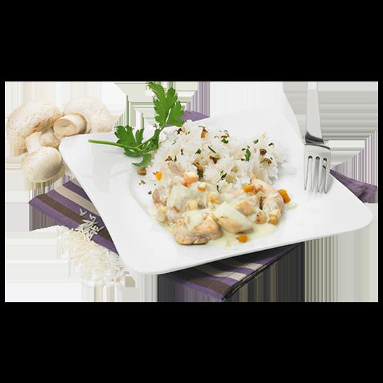 Sauté de poulet à la crème et son riz aux champignons de Paris et pleurotes