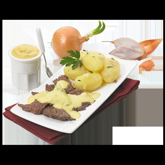 Emincés de bœuf à la moutarde de Dijon et ses pommes de terre cuisinées