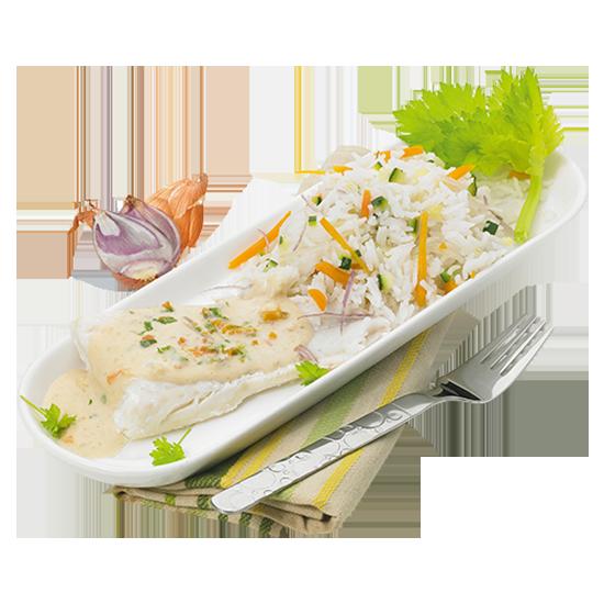 Poisson sauce beurre blanc à la crème et son riz Basmati
