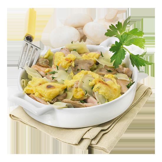 Gratin de ravioles au poulet et champignons de Paris