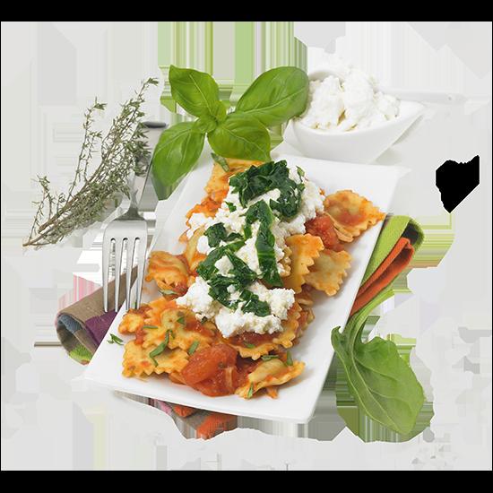 Ravioles ricotta épinard, sauce tomate et ricotta
