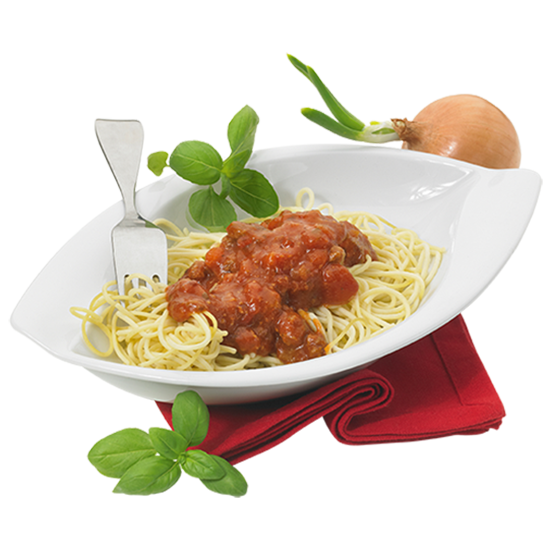 Spaghetti sauce bolognaise et pointe de basilic